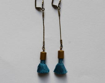 vintage brass and blue tassel earrings