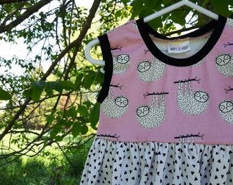 3T Sloth Dress - Organic Girls' Summer Dress
