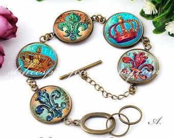 Fleur De Lis Bracelet, French Symbol, New Olreans, Crowns, Mardi Gras Jewlery, Nola Gift, Boho, Colorful Jewelry, Gift for Women