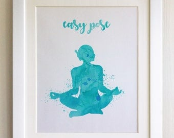 FRAMED Yoga Pose Print - Black/White Frame, Birthday, Anniversary, Mother's Day, Christmas, Fab Picture Gift