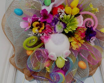 Easter Wreath, Spring Wreath, Deco Mesh Wreath, Bunny Wreath, Bunny Butt, Pouff Wreath