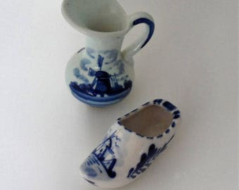 "DISCOUNTED 1950s Dutch Delft Souvenirs from Holland/Tiny Delft Pitcher n Tiny Delft ""Wooden Shoe"" Ornament/Dutch Delft Ornaments/Delft from"