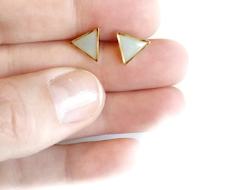 Sky blue/gold triangle post earrings • triangle earrings, small post earrings, dainty earrings