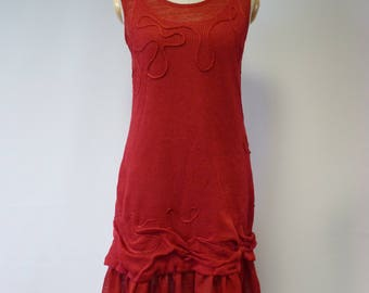 Amazing red linen dress, M size. Only one sample.