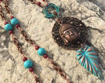 Buddha Love! This Uniquely Handcrafted Copper & Aqua Buddha Necklace has all that Dangle too!
