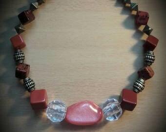 Chunky burnt orange beaded necklace