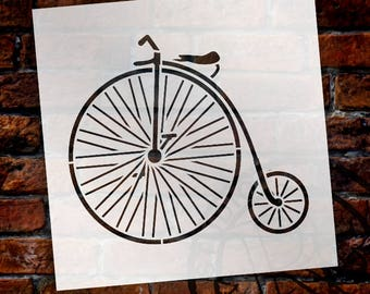 Vintage Big Wheel Bicycle - Art Stencil - Select Size - STCL1109 - By StudioR12