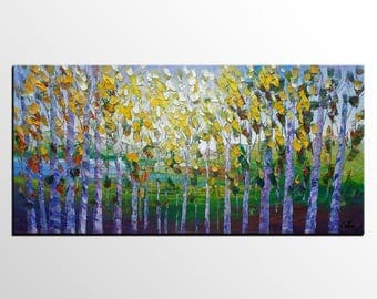 Large Art Painting, Abstract Painting, Oil Painting, Canvas Art, Spring Tree, Landscape Painting, Abstract Art, Modern Art, Large Wall Art