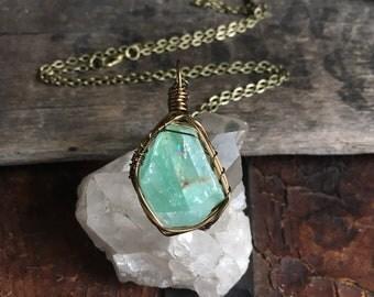 Green Calcite pendant necklace