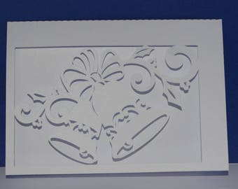 Christmas card white Bell arabesques