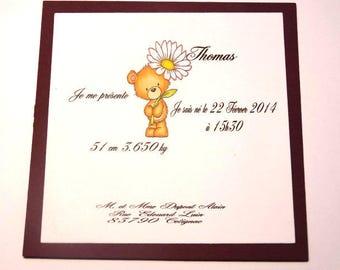 Make birth announcement - Teddy bear Daisy theme