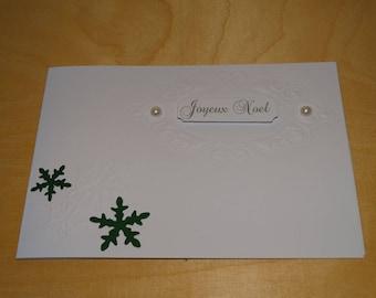 Merry Christmas green snowflake embossed card