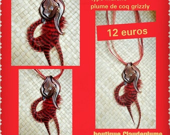 Murano glass pendant necklace & feathers