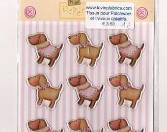 Tilda BubbleStickers / Lot de  9 chiens autocollants