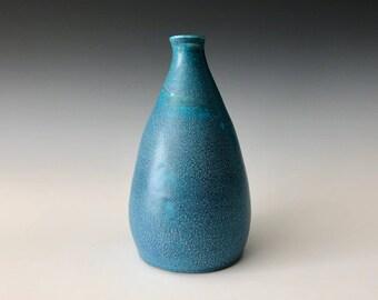 Modern handmade pottery blue stoneware vase decor bud vase Haight Pottery Company, mid-century decor