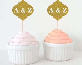 Glitter Cupcake Topper | Moroccan Personalised Wedding Cupcake Topper
