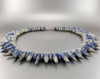 Lapis Lazuli collier/necklace with Calcite -Natural striped Lapis Lazuli -Blue and white -Statement Necklace -gift idea -natural combination