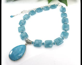 Aquamarine birthstone necklace with pendant, Aqua necklaces, pendant necklaces, March birthstone jewelry, gemstone jewelry