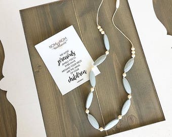 The Norah Silicone Teething Necklace for Mom   Classic Necklace   Nursing Necklace   Babywearing Necklace   Fidget Necklace   Teething Bead