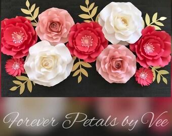 Set of 9 Large Paper Flower Wall Decor/Birthday/Wedding/Bridal/Baby Shower
