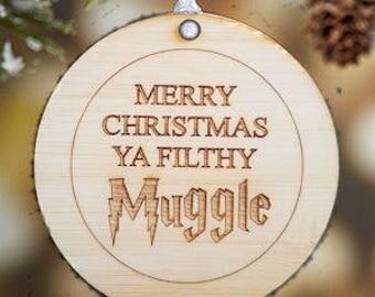 Merry Christmas Ya Filthy Muggle Ornament, harry potter ornament, harry potter christmas, harry potter christmas ornament, ya filthy muggle