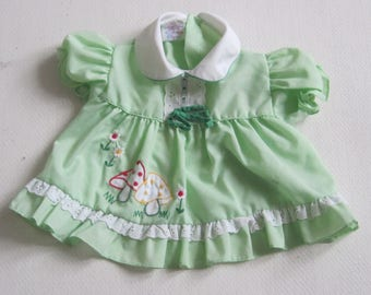 Vintage Baby Girl Dress 12 Months Short Sleeve CELANESE FORTREL Green Floral A5119