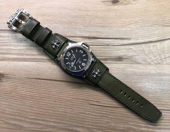 Full bund strap, Leather Watch band, Cuff Strap, Leather watch strap, Cuff Watch band, Army green, 24mm, Cuff band, FREE SHIPPING
