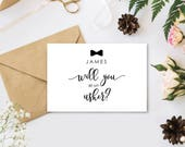 Personalised 'Will you be my Usher?' wedding card