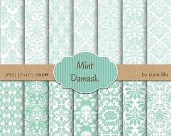"""SALE 50%OFF Damask Digital Paper: """"Mint Damasks"""" mint green scrapbook paper, damask patterns, mint digital paper, for scrapbooking, cardmaki"""