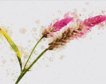 Hot Pink Flowers Cross Stitch Pattern