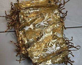 100  sac jaune or 7x9 cm sac Emballage Organza