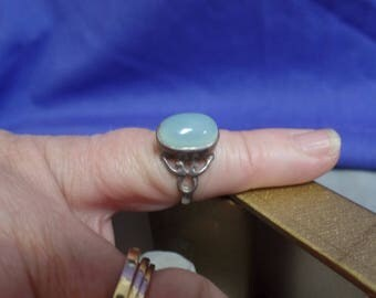 Sterling Silver Chrysoprase Ring size 6 marked 925