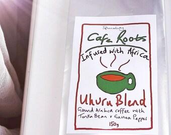 GOURMET *TONKA BEAN* Fresh Roasted Ground Coffee Arabica (Tonka Bean & Guinea Pepper) 150g Moka/Stove/Filter/Cafetiere.