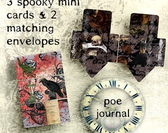 Printable Mini Cards & Printable Envelopes Halloween Theme Edgar Allan Poe  Digital Download  Envelope Notecards Journal Cards Printable