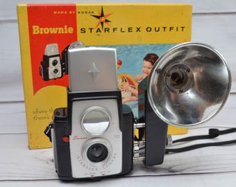 Vintage Kodak Brownie Starflex Camera with Flash and Original Box