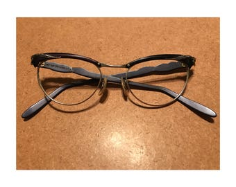 1950's black and silver aluminum cateye eyeglass frames - in great condition!