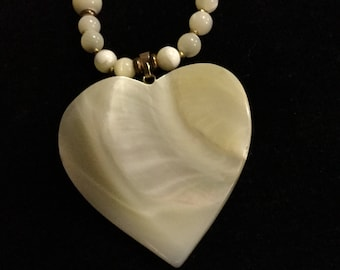 MIRIAM HASKELL Vintage Necklace - Large Mother of Pearl Heart Pendant - Glass Beads