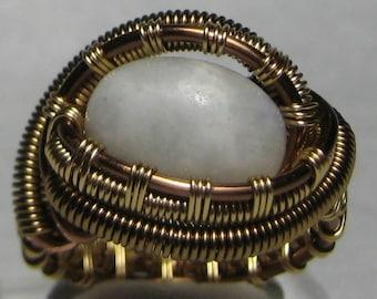 Rainbow Moonstone with Black Tourmaline Ring size 9.75