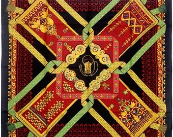 """HERMES SCARF Silk """"Brins d'Or"""" by Julia Abadie 90cm Carre 100% Auth"""