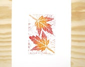 """Woodblock Print - """"Silver Maple"""" Leaf Print - Fall Autumn Leaves - Red and Orange"""