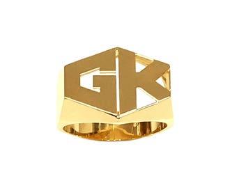 Lee188-10K 12mm 10K Gold Hexagonal Shaped 2-initial Plain Name Ring