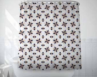 Stars Shower Curtain, Barcelona Tiles, Geometric Bath Art, Bath Shower Curtain, Bathroom Art, Bathroom Gift, Black Shower Curtain