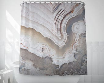 Agate Shower Curtain, White Agate Art, Mineral Photography, Showers, Bathroom Curtains, White Shower Curtain, Bathroom Art