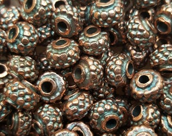 Mykonos Greek Textured 8mm x 5mm Beads - Bronze - 10 Beads