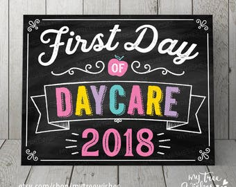 First Day of Daycare Sign - First Day of Daycare Chalkboard - First Day of School Chalkboard Sign - First Day of School Printable