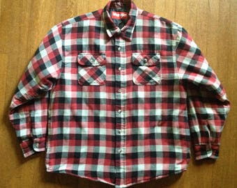 Vintage Wrangler Red Plaid Flannel Shirt Quilted Lining
