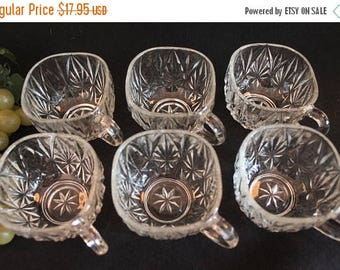 Christmas in July Set of 6 Hazel Atlas Clear Glass Punch Cups - Williamsport Pattern in Excellent Condition!