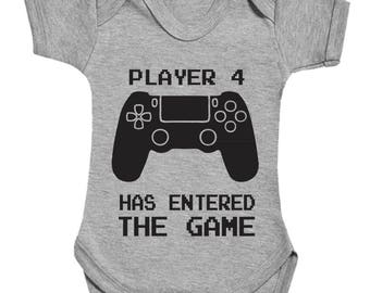 Player 4 has entered the game with controller cute funny babygrow bodysuit