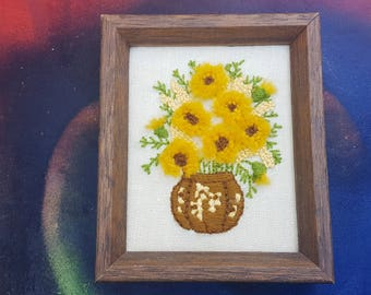 70s Needlepoint with Flowers, Vintage Wall Hanging, 70s Decor, Vintage Art