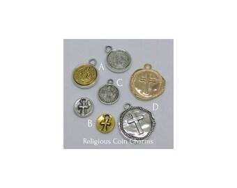 Religious Coin Charms Pendants